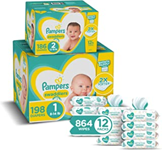 Pampers Baby Diapers and Wipes Starter Kit (2 Month Supply) - Swaddlers Disposable Baby Diapers Sizes 1 (198 Count) & 2, (...