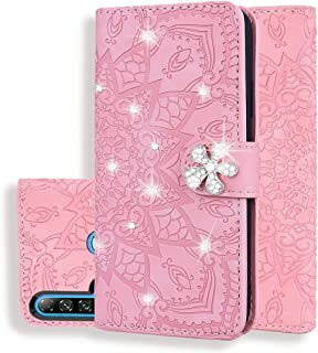 For Huawei P20 Lite (2019) / nova 5i Calf Pattern Diamond Mandala Double Folding Design Embossed Leather Case with Wallet & Holder & Card Slots New (Brown) Hopezs (Color : Pink)