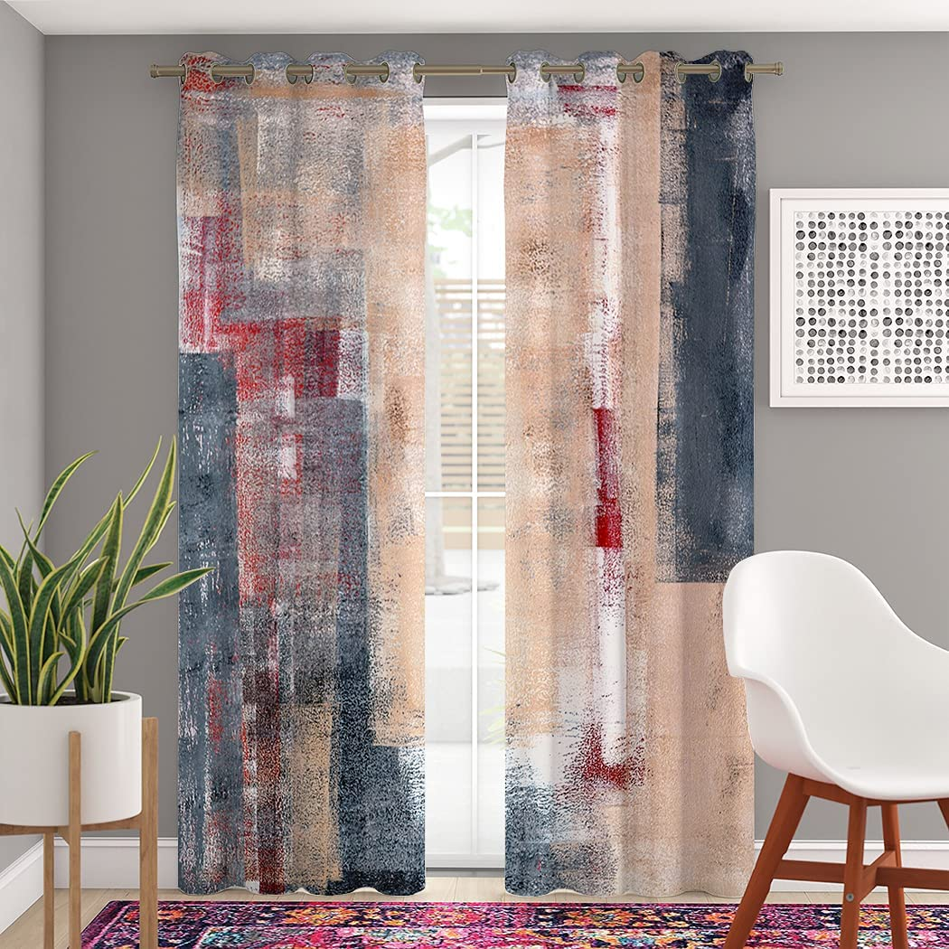 Popular overseas MASACANDY Blackout Grommet Curtains 96 Length Inch Gray a Beige SEAL limited product