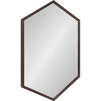 Kate and Laurel Laverty Modern Oblong Hexagon Mirror, 24 x 36, Walnut Brown, Geometric Wall Decor