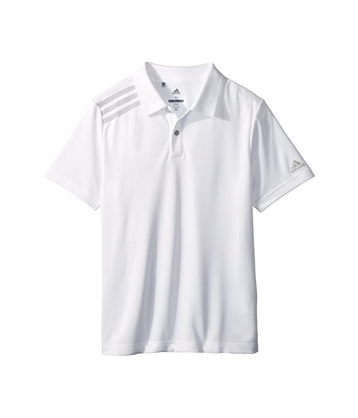 adidas Golf Kids  3 Stripe Polo (Big Kids) (White) Boys Short Sleeve Pullover