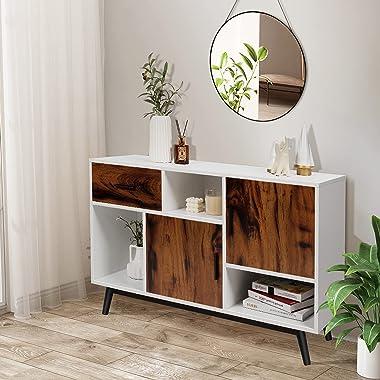 Giantex Storage Sideboard Cabinet Buffet with 1 Large Drawer, 2 Doors & 3 Open Shelves, Multifunctional Storage Organizer