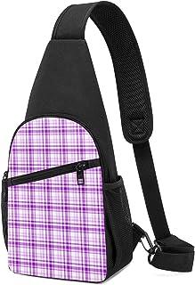 Bolso de hombro de cuadros morados para corazones, tamaño mediano, ligero, mochila para el pecho, bolsa cruzada, bolsas de...