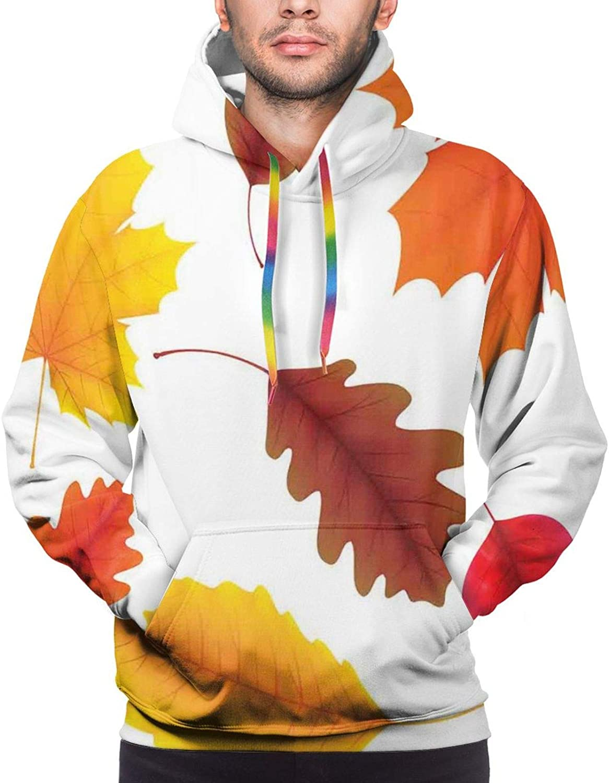 Men's Hoodies Sweatshirts,Autumn Floral Elements Berries Mushrooms Leaves Birds Fall Season Nature Pattern