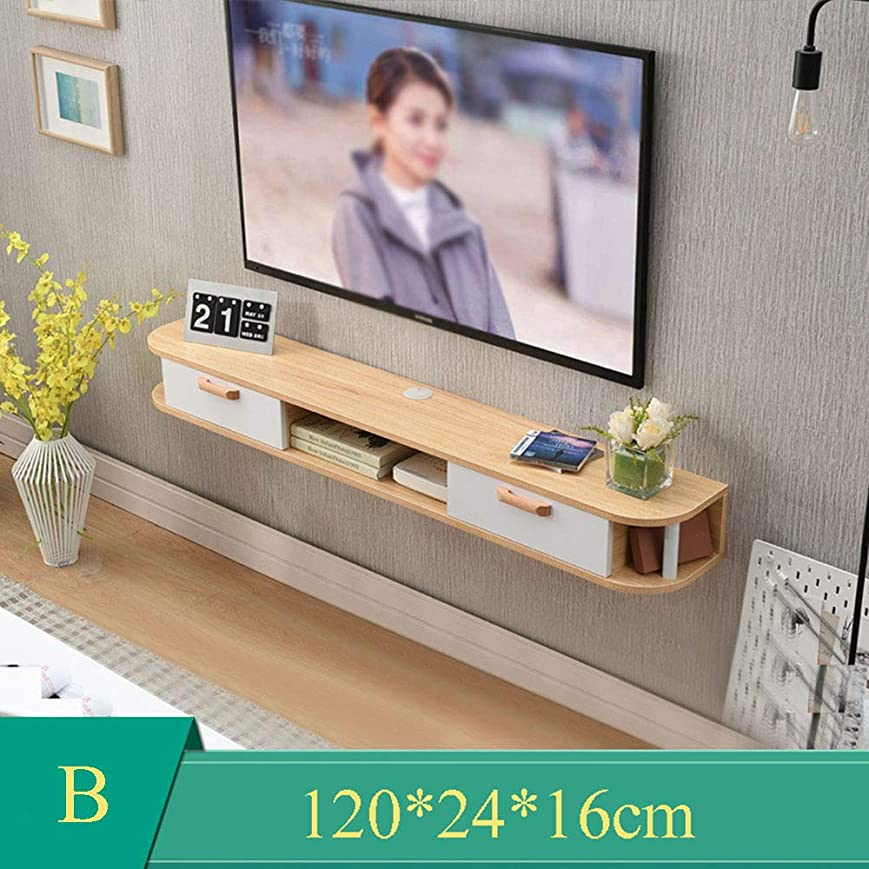 セントおじいちゃん腸壁掛けテレビキャビネット-テレビコンソールフレームテレビエンターテイメントユニット、木製収納ラックリモートコントロール/Wifiルーター/DVD、120 Cm