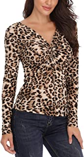 Leopard Tops Off The Shoulder Blouse V Neck Trendy Form Fitting Ruched Shirt with a Twist Knot