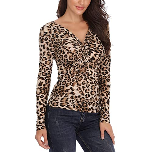a62da755364ec MISS MOLY Leopard Tops Off The Shoulder Blouse V Neck Trendy Form Fitting  Ruched Shirt with