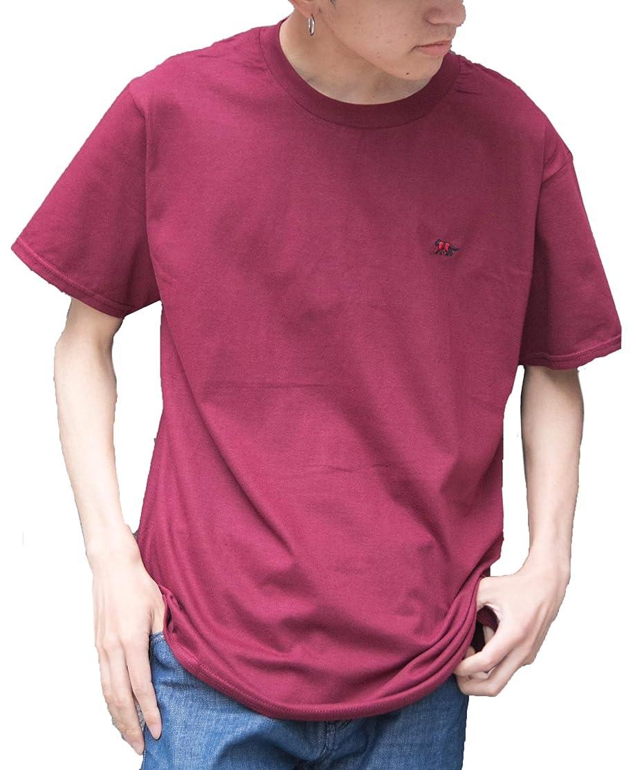 設計したがって早熟[セカンドルーツ] ストライプジャガー 半袖 メンズ ユニセックス ジャガー刺繍 綿 カットソー ストライプ ジャガー Tシャツ