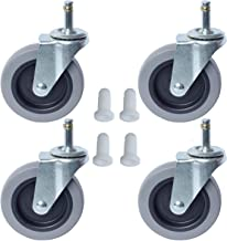 """AAGUT 4 Inch Caster Replacement Wheels for Rubber Cart, Swivel Stem Casters, 7/16""""x 1-3/8"""" Stem TPR Rubber Wheel for Mop Buckets, Pack of 4"""