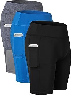 Yuerlian Women's Compression Shorts Yoga Shorts Sports Gym Running Shorts Active Pocket Leggings 3 Pack