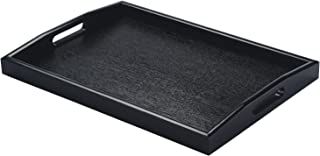 JPCRAFT Rectangle Wooden Serving Tray Breakfast Tray with Handles, Black, 15.75 by 11-Inch
