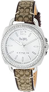 Coach Women's 14502768 Tatum Signature Fabric Leather Silver Tone Glitz Watch