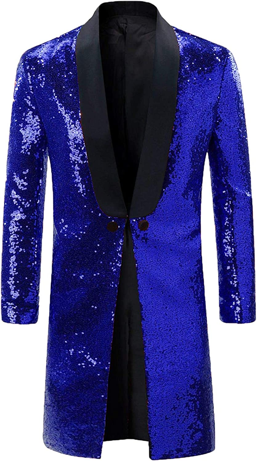 DGMJ Purchase Sequins Tailcoat Circus Costume for Men Dinne trust Party Stylish