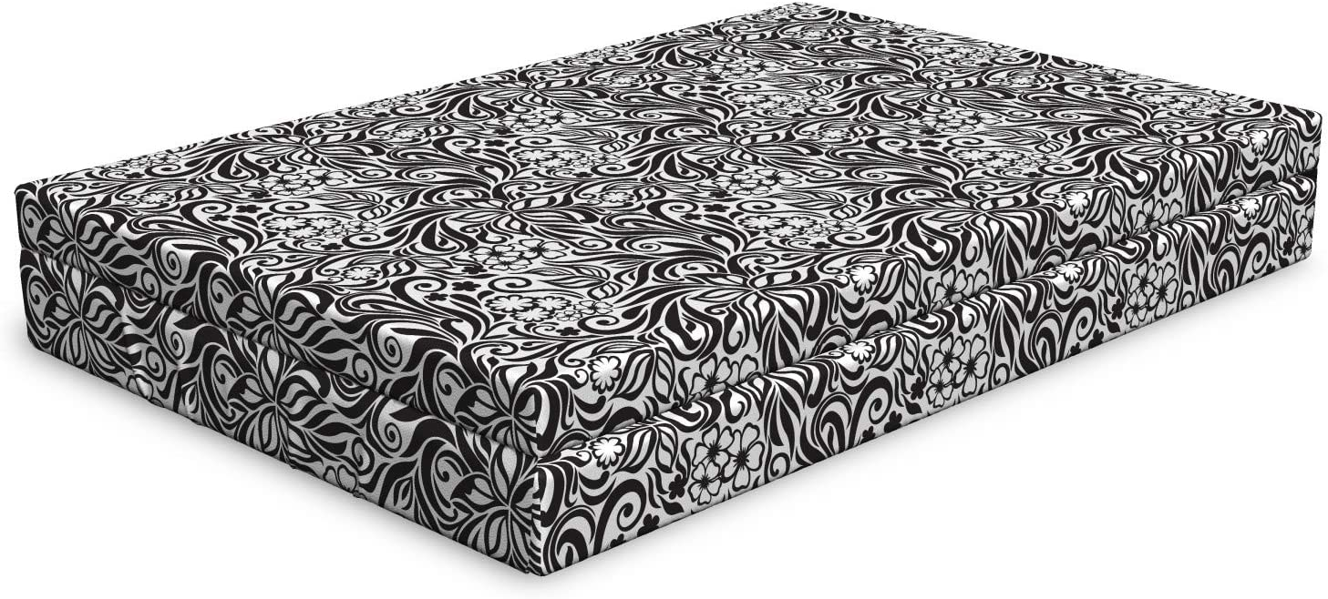 Ambesonne Black and Ranking TOP15 New life White Dog Pattern Bed Design Scroll Western