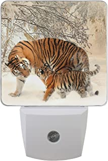 WIHVE Pack of 2 LED Night Lights Plug-in Tiger Baby Family Nightlight with Dusk to Dawn Sensor Soft White Glow for Kids Adults Room, Hallway Bathroom Kitchen