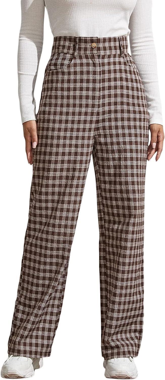 Milumia Women's High Waist Plaid Pants Preppy Wide Leg Trousers with Pocket