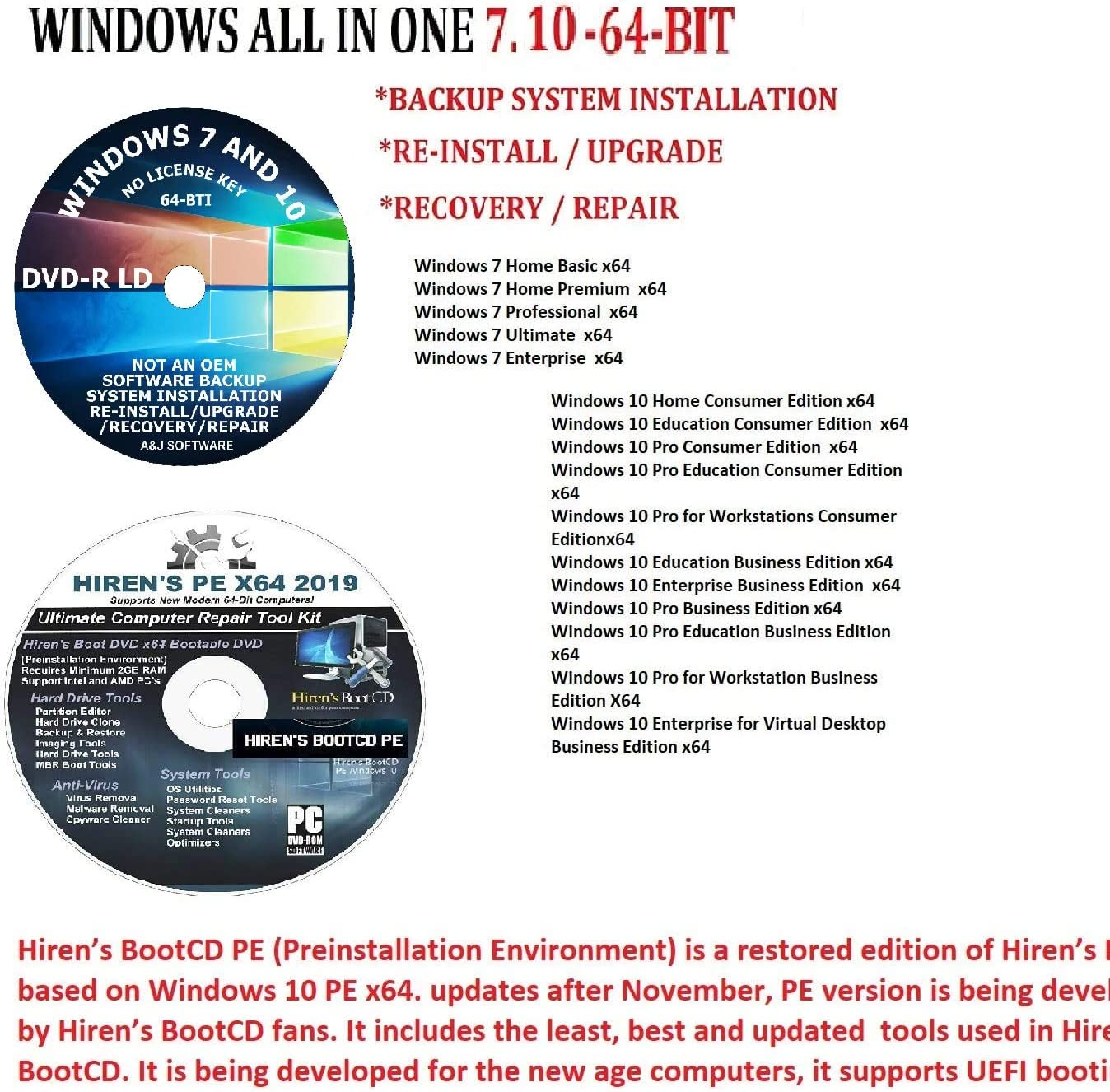 2021 model WINDOWS 7.10 AND Challenge the lowest price of Japan ☆ HIREN'S BOOT-CD PE.X64 BIT SOFTWARE DVD REPAIR