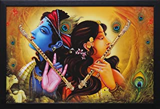 PAF Radha Krishna Wall Painting With Frame for Home Decoration (size 12 x 18 inch)
