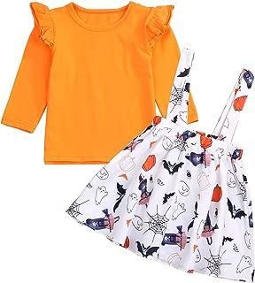 KONIGHT Halloween Kids Toddler Baby Girls Dresses Outfit Ruffled Long Sleeve T-Shirt+Pumpkin Strap Skirt Fall Clothes Set