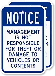GUQFF Notice - Management is Not Responsible for Theft Or Damage to Vehicles Or Contents Sign Aluminum Plate Home Coffee W...