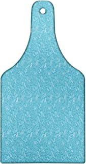 Lunarable Aquarium Leaf Cutting Board, Seaweed Patterned Marine Underwater Theme Botanicals Illustration, Decorative Tempered Glass Cutting and Serving Board, Wine Bottle Shape, Sea Blue and White