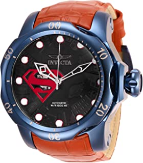 Invicta Men's DC Comics Stainless Steel Automatic-self-Wind Leather-Synthetic Strap, red, 26 Casual Watch (Model: 27097)