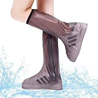 Waterproof Shoe Covers, Silicone Rain Boot Shoes Cover with Zipper Reusable & Foldable Non-Slip Rain Shoe Covers for Women Men (M, 10.43in) Rain Gear Overshoes Boot Cover