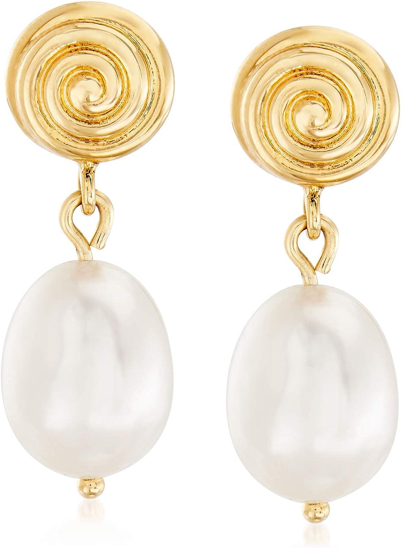 Ross-Simons 10x8mm Cultured Pearl Swirl Drop Earrings in 14kt Yellow Gold