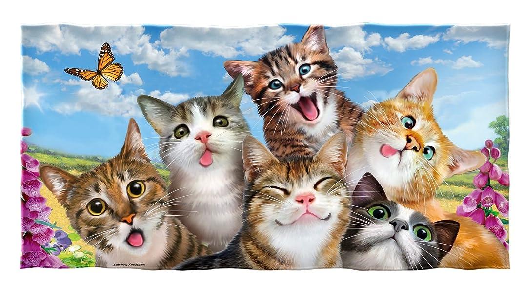 インペリアル実証する通行人Dawhud Direct Cats自撮りコットンビーチタオル