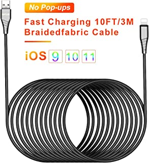 10ft Charging Cable USB Phone Charger Cable 3m Long Cell-Phone Cord Braided Fabric Fast Charging Cord Durable USB Cable Compatible Phone X 8 8 Plus 7 7Plus 6s 6sPlus 6 6Plus 5 5s 5c SE Pad Pod.