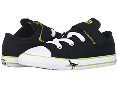 Converse Kids Chuck Taylor(r) All Star(r) 1V Dinoverse Ox (Infant/Toddler) (Black/Bold Lime/White) Boys Shoes