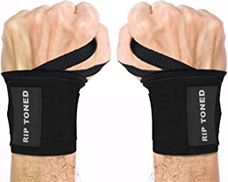 Rip Toned Wrist Wraps 18 Professional Grade with Thumb Loops - Wrist Support Braces for Men & Women - Weight Lifting,  Xfit,  Powerlifting,  Strength Training