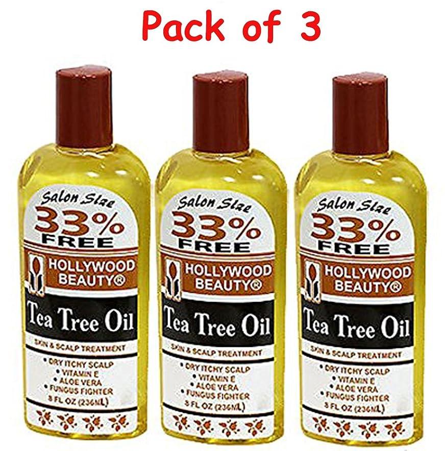 安いですプラットフォーム樫の木Hollywood Beauty ティーツリーオイルスキン&スカルプトリートメント、8オンス(3パック) 3パック