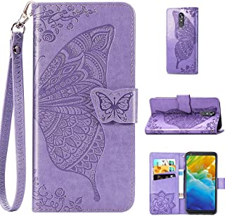 LG Stylo 5 Case, mellonlu Luxury PU Leather Flip Folio Wallet Card Slots Stand Feature Protective Case Cover for LG Stylo 5 (Purple Butterfly)