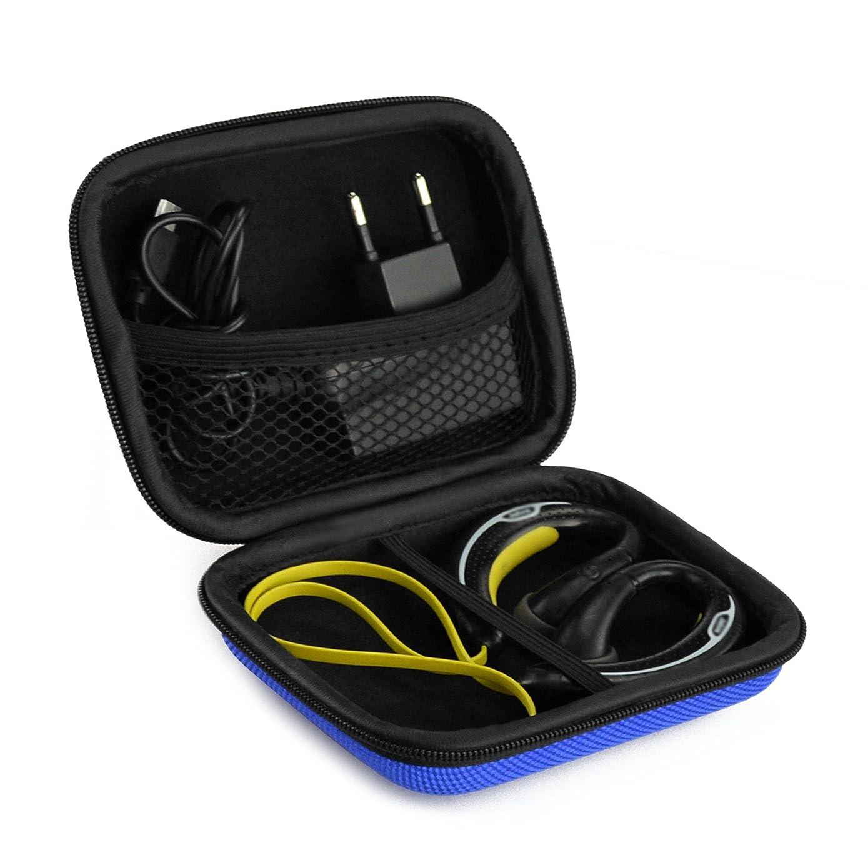 Sports Wireless Bluetooth Headset Carrying Case, Fit Beats Powerbeats 2, Polk UltraFit 3000, JayBird, Sennheiser OMX 680, Skullcandy Chops/Sweat Proof Workout Earbuds Carrying Case (Blue)