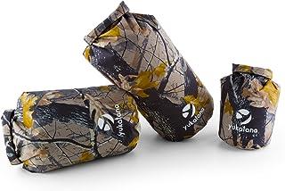 Treckset Camo Set de 3 petates bolsas estancas de camuflaje (3x mochila trekking 5/15/20 litros capacidad, correa transporte ajustable, resistente intemperie)