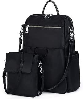 UTO Women's 3 Ways Oxford Casual Backpack Shoulder Bag Handbag Totes with Anti Theft Pocket Detachable Cross Body Bag Shoulder Strap Black