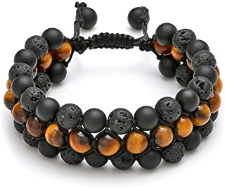 Jovivi Beads Chakra Bracelet Tigers Eye Gemstone Black Onyx Obsidian Lava Rock Stone Essential Oil Diffuser Bracelet Natur...