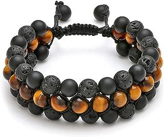 Beads Chakra Bracelet Tigers Eye Gemstone Black Onyx Obsidian Lava Rock Stone Essential Oil Diffuser Bracelet Natural Energy Yoga Healing Crystals Bracelet Adjustble for Women Men
