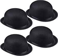 Syhood 4 Packs Funny Party Hats Black Felt Derby Light Bowler Top Hat Costume Accessory for Kids and Adults Unisex