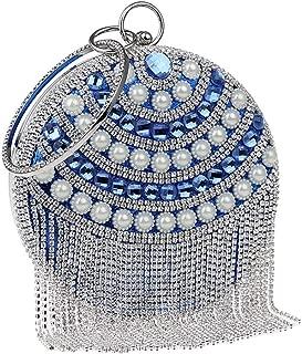 Redland Art Women's Fashion Mini Pearl Beaded Tassel Round Clutch Bag Wristlet Catching Purse Evening Handbag for Wedding Party (Color : Blue)