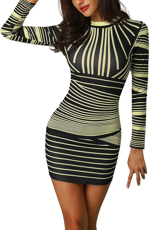 liangfudianzi Women Sexy Long Sleeve Striped Printed O-Neck Zipper Party Evening Club Bodycon Mini Dress