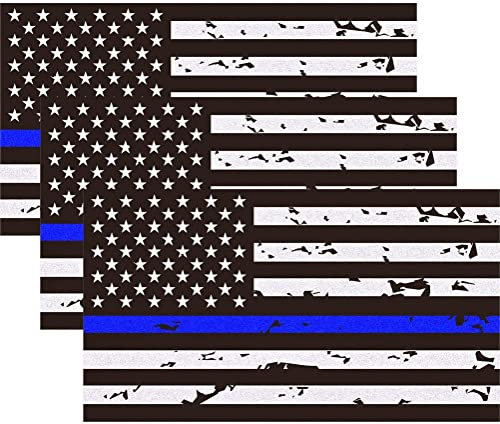 "3 Pack Reflective New Tattered Thin Blue Line US Flag Decal Stickers | Compatible with Cars & Trucks, 5"" x 2.7"" Ameri..."