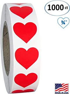 Red Heart Shaped Sticker Labels, 3/4