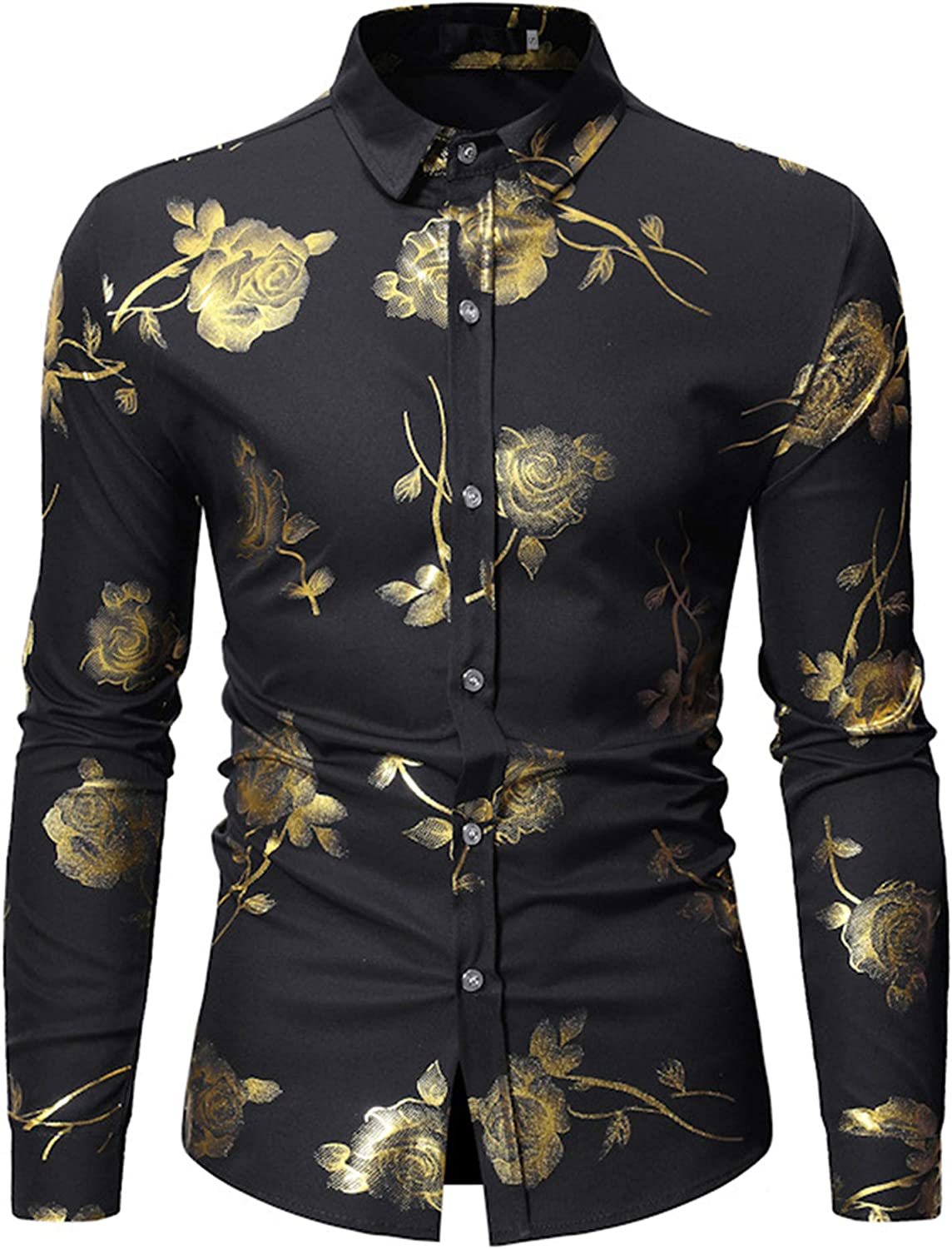 HOP Fashion Mens Luxury Gold Rose Print Shirt Long Sleeve Slim Fit Button Down Dress Shirts for Party/Wedding/Shows