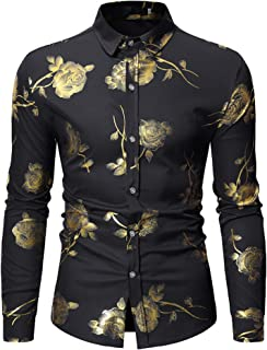 Mens Luxury Gold Rose Print Shirt Long Sleeve Slim Fit Button Down Dress Shirts for...