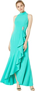 Women's Halter Neck Sleeveless Gown with Ruffle Details