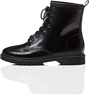 Marca Amazon - find. Lace Up Leather - Botas Estilo Motero Mujer