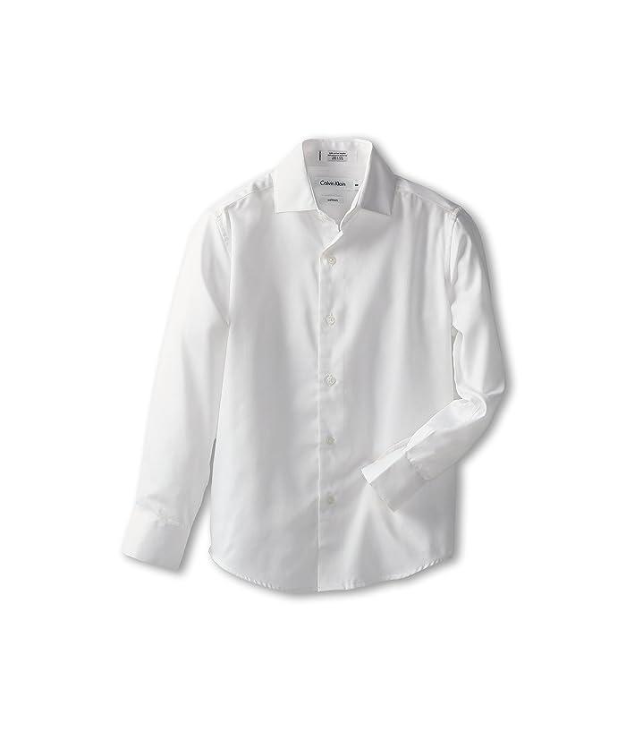 Sateen Shirt (Big Kids) (White) Boy's Long Sleeve Button Up