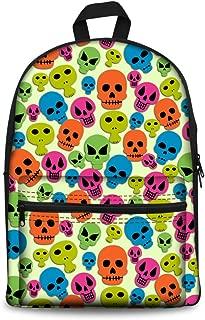 Canvas backpack for Girls Cartoon Skull School Bag Cute Travel Satchel Teen Boys